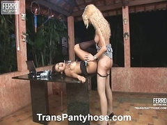 Jessica&Claudio shemale pantyhose video